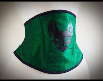 Green Silk with Black Feline 22 inch Underbust Steel Boned Corset Cincher - Sample READY TO SHIP