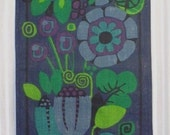 vintage 60s/70s mod floral screen printed burlap wall hanging