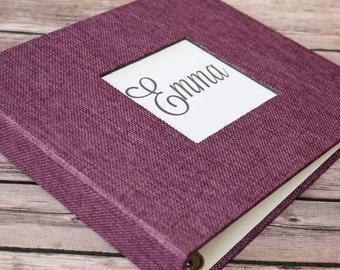 Baby Book, Baby Gift, Baby Album, Baby Memory Book, Baby Keepsake, Modern Baby Book, Eggplant Purple Burlap Album