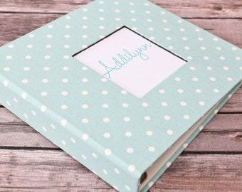 Baby Book, Baby Gift, Baby Album, Baby Memory Book, Baby Keepsake, Modern Baby Book, Mint Polka Dot Album