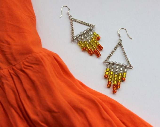 SALE Sunset beaded chevron earrings.