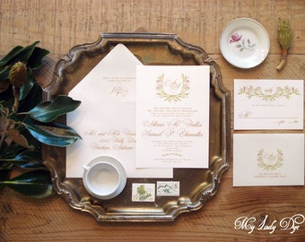 100 Floral Wreath Wedding Invitations - The Wreath Monogram ALLEXUS Collection - By My Lady Dye
