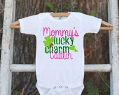 Kids St. Patricks Day Outfit - Hot Pink Mommy's Lucky Charm Onepiece - Novelty St. Patricks Shirt for Baby Girls - Green Clover - Infant