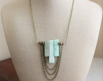 Amazonite Triple Bar Necklace. Gemstone Necklace.