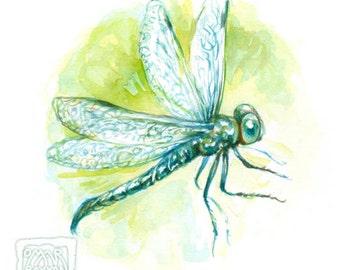Dragonfly - original watercolor painting, game art