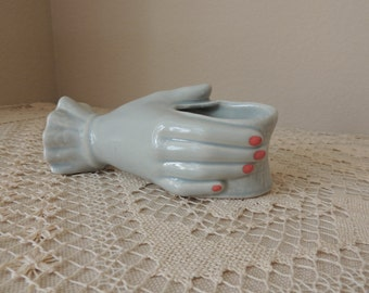 Soft Blue Green Ceramic Hand Vase. Collectible Hollywood Regency Style Hand Holding Vase. Vanity Table Accessory