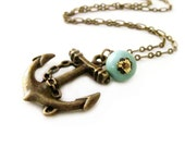 Nautical Anchor Necklace Vintage Turquoise Necklace Resort Jewelry Charm Necklace Ocean - Sweet Anchor