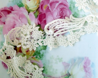 Lace, Trim, 33 inches, Machine Lace, Cutter Fabric, Sewing Supplies, Fancy Lace, Cream, by mailordervintage on etsy