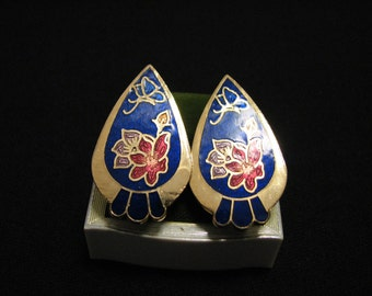 Vintage Gold Tone and Blue Cloisonne Enameled Butterfly Flower Oval Teardrop Clip Earrings