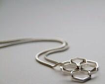Hexagon Flower Pendant Necklace, Geometric Necklace, Sterling Silver, Handmade Jewelry, UK shop, Honeycomb Flower Design