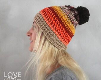 crochet hat beanie slouchy crochet hat slouchy skull cap pom pom beanie winter hat beanie unique knit hats wool brown beige neonbeanie hat