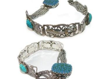 Art Deco Egyptian Revival Very Unique Vintage Bracelet 1930's