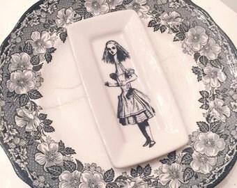 Sale Beautiful Vintage Wedgewood Plate Repurposed with Alice in Wonderland Art Piece