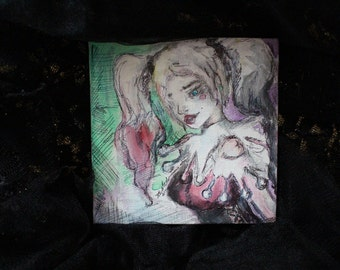 Harley Quinn Original One of a Kind Painting on Canvas