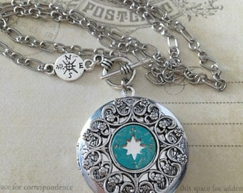 Compass Necklace - Verdigris Compass Necklace - Tiny Compass Necklace - Compass Jewelry