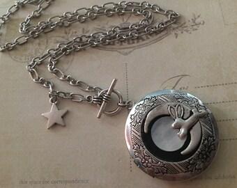 Bunny Locket, Rabbit Necklace, Bunny Necklace, I love you to the moon Necklace,Bunny Locket,Bunny Necklace