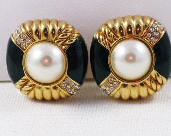Vintage Swarovski Black Enamel, Faux Pearl, Gold Tone Clip Earrings  (E-1-2)