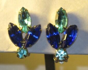 Vintage Blue Rhinestone Clip Leaf Earrings (E-2-1)
