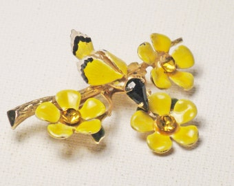 Vintage Gold Tone Yellow Enamel Bird and Flowers Brooch Pin (B-4-5)