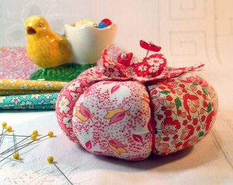 New Red 1930's Inspired Patchwork Tomato Pincushion- Ready to Ship