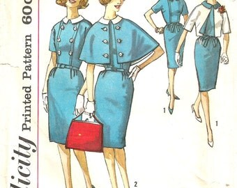 Vintage 50s 60s Dress Pattern s xs 32 bust Reversible Bolero Jacket Cape Capelet Buttons Late 1950s Early 1960s size 12