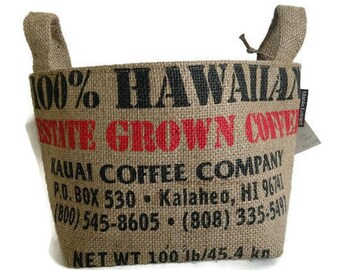 MTO. Custom. Gift Basket. Repurposed Kauai Burlap Coffee Bag. Large. Eco Friendly Storage, Organizer. Made in Hawaii.