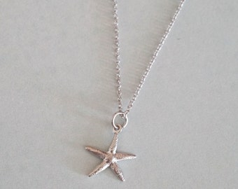 SALES Silver Starfish Necklace / Beach Nautical wedding, Sea bridesmaid bridal shower necklace, gifts for her