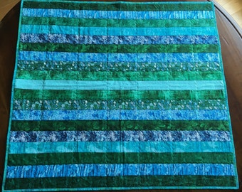 Modern Baby Blanket, Quilt, Blue and Green, Couch Throw, Lap Blanket.