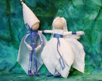 Christmas fairy and elf, Christmas Waldorf doll, Jack Frost, Father Winter