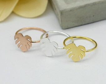 2Pcs Nickel Free - High Quality Rose Gold/Silver/Golden Brass Leaf Ring (RB005)