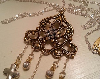Long Southwestern Inspired Chandelier Cross Necklace