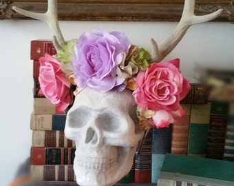 Flocked Antler Headdress with Vintage and new Millinery Pastel Flowers