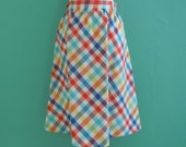 70's plaid skirt // multi color summer full skirt ~ small medium