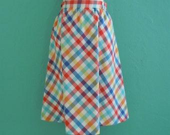 SALE 20% OFF coupon code FALLFORWARD16 ~ vintage 70's plaid multi color summer full skirt