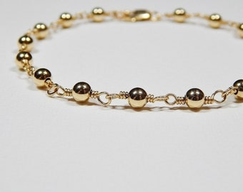 Beaded Gold Bracelet - Gold Filled Rosary Bracelet Smooth Beads Yellow Gold Beadwork Bracelet