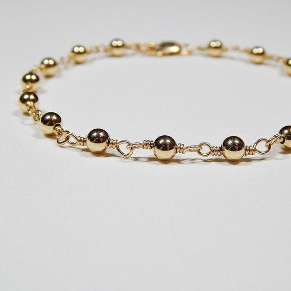 Beaded Gold Bracelet - Gold Filled Rosary Bracelet Smooth Beads Yellow Gold Beadwork Bracelet