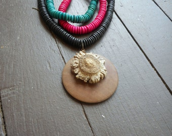 The Wildwood Necklace. Genuine Deer Antler Burr & Rustic 3 strand wood beaded necklace in Hot pink, teal and black OOak