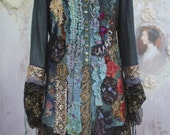 Empress jacket -long, ornate, baroque influenced, bohemian romantic ,altered couture, embroidered and beaded details,old laces
