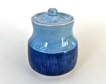 Hand Made Blue Pottery Jar with Lid Textured Pottery Jar Wheel Thrown Blue Porcelain Jar and Lid