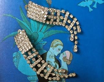 Vintage Dangle Rhinestone Earrings Long Rhinestone Clip On Earrings