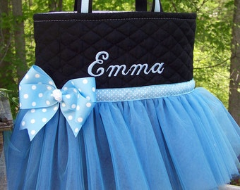Personalized Blue Ballet Tutu Tote Bag