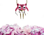 Tiger necklace, warrior tiger necklace, animal jewelry, tiger jewelry, wild cat, vegan necklace - Hot Pink
