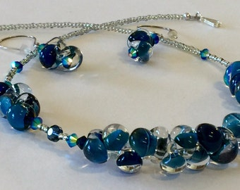Artisan Lampwork Glass Teardrop Bead Necklace and Earring Set in Gorgeous Shades of Blue