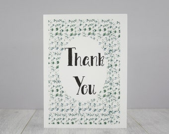 Thank You Card - Gratitude Card - Thanks Mum - Set of Thank You notecards - Thank You Gift - card pack - Abstract Print - Blues and Greens