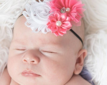 Pink elastic headband, black skinny elastic headband, white flower headband, flower girl hair accessories, bridal headband, baby headband