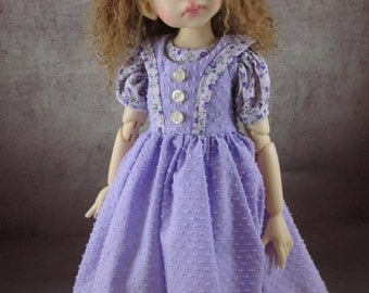 Lavender Floral Dotted Swiss Dress and Socks Set for Kaye Wiggs Layla, Talyssa, Miki, Mei Mei, Yani, Nyssa, Hope, and other 43-45cm MSD BJD
