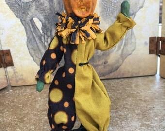 OOAK Halloween Jack-o-lantern carved pumpkin mini posable art doll clown costume orange black green