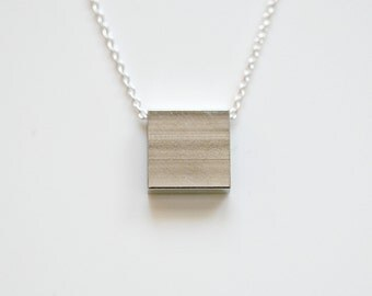 Silver square necklace - geometric pendant - sterling silver chain - everyday layering necklace - simple minimal modern jewelry - Yasuko