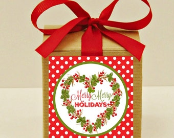 Christmas Party Favors, 12 Holiday Gift Boxes, Candy Box, Cookie Boxes, Kraft Boxes, Hostess Gifts, Party Favors, Christmas Wedding Favors