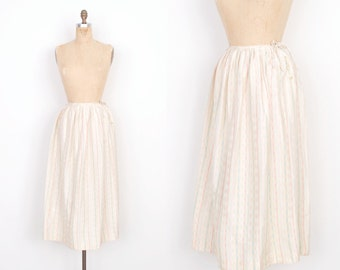 Vintage 1980s Skirt / 80s Printed Silk Midi Skirt / Cream (small S)
